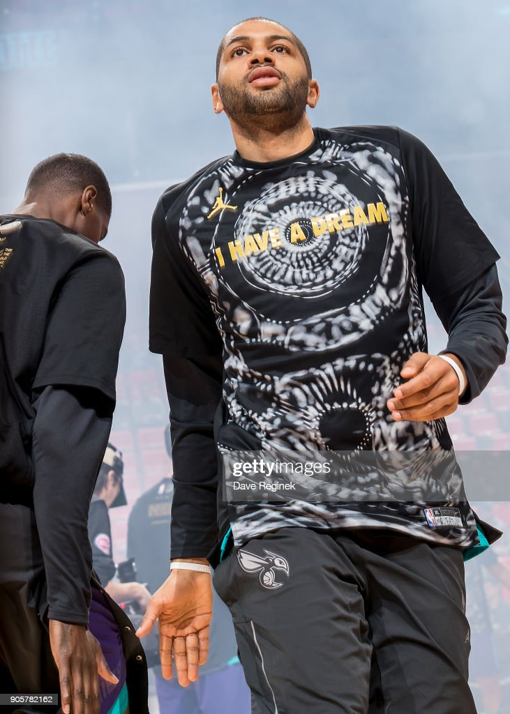 Nicolas Batum #5 of the Charlotte Hornets is introduced to the fans before an NBA game against the Detroit Pistons at Little Caesars Arena on January 15, 2018 in Detroit, Michigan.