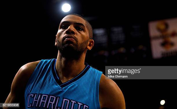Nicolas Batum of the Charlotte Hornets looks on during Game One of the Eastern Conference Quarterfinals against the Miami Heat during the 2016 NBA...