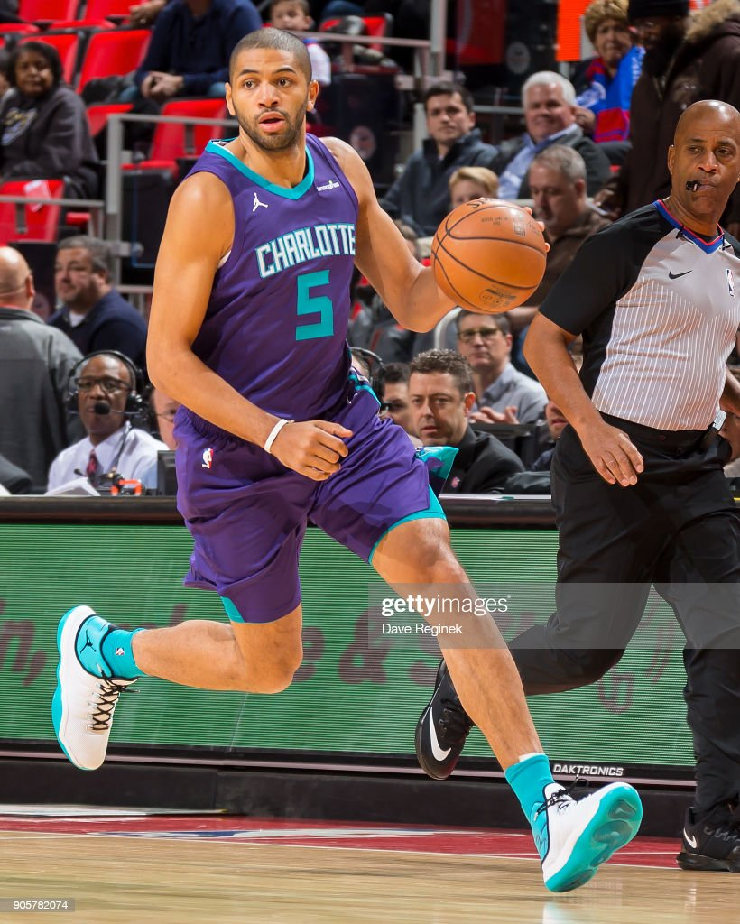 Nicolas Batum #5 of the Charlotte Hornets moves the ball up court against the Detroit Pistons during the an NBA game at Little Caesars Arena on January 15, 2018 in Detroit, Michigan.
