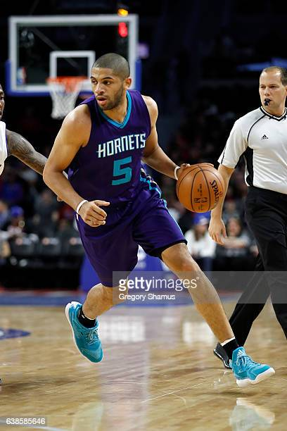 Nicolas Batum of the Charlotte Hornets plays against the Detroit Pistons at the Palace of Auburn Hills on January 5 2017 in Auburn Hills Michigan...