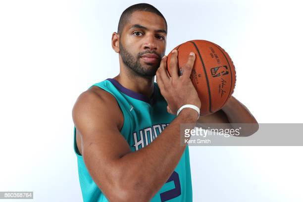 Nicolas Batum of the Charlotte Hornets poses for a portrait during media day on September 25 2017 at Spectrum Center in Charlotte North Carolina NOTE...