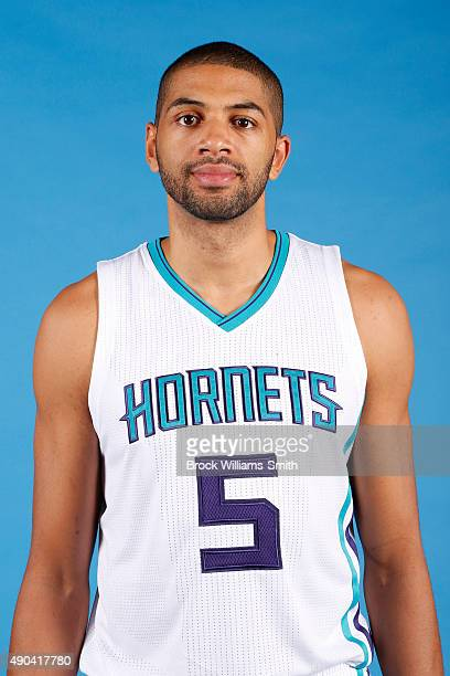 Nicolas Batum of the Charlotte Hornets poses for media day at the Time Warner Cable Arena on February 4 2015 in Charlotte North Carolina NOTE TO USER...