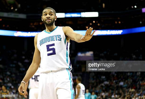 Nicolas Batum of the Charlotte Hornets reacts after a call during their game against the Atlanta Hawks at Time Warner Cable Arena on January 13 2016...