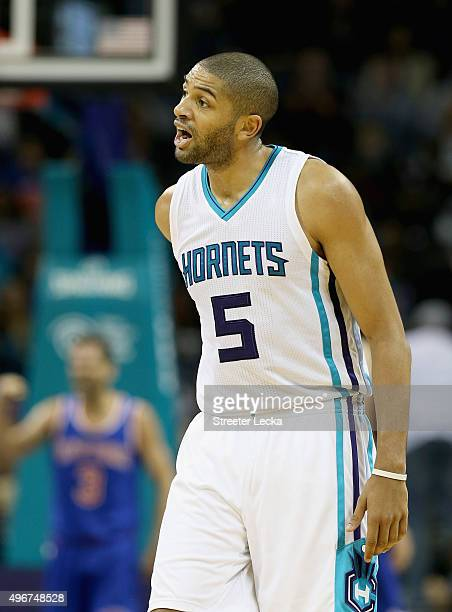 Nicolas Batum of the Charlotte Hornets reacts after a play during their game against the New York Knicks at Time Warner Cable Arena on November 11...