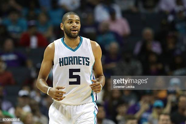 Nicolas Batum of the Charlotte Hornets reacts after a play during their game against the Philadelphia 76ers at Spectrum Center on November 2 2016 in...