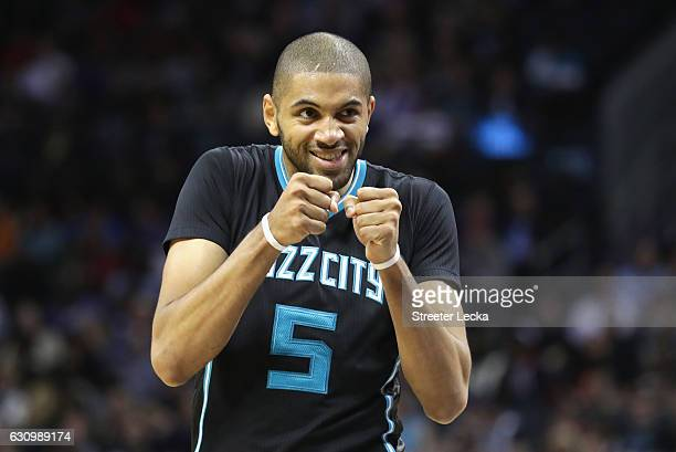 Nicolas Batum of the Charlotte Hornets reacts after a play during their game against the Oklahoma City Thunder at Spectrum Center on January 4 2017...