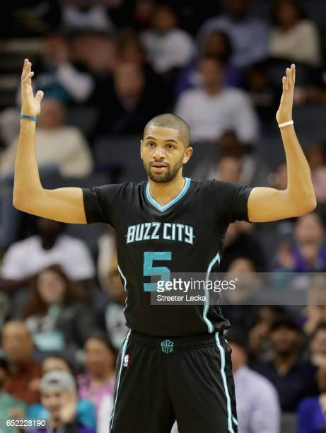 Nicolas Batum of the Charlotte Hornets reacts during their game against the New Orleans Pelicans at Spectrum Center on March 11 2017 in Charlotte...