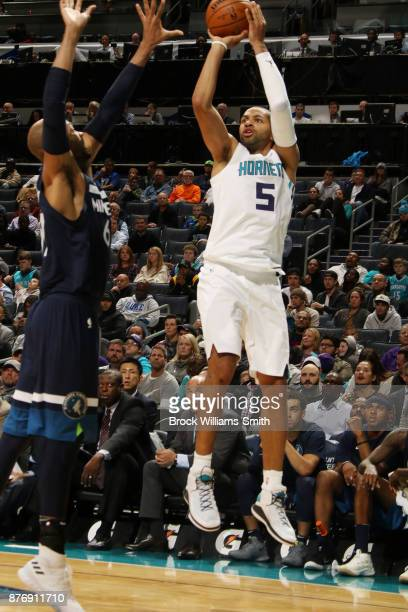 Nicolas Batum of the Charlotte Hornets shoots the ball against the Minnesota Timberwolves on November 20 2017 at Spectrum Center in Charlotte North...