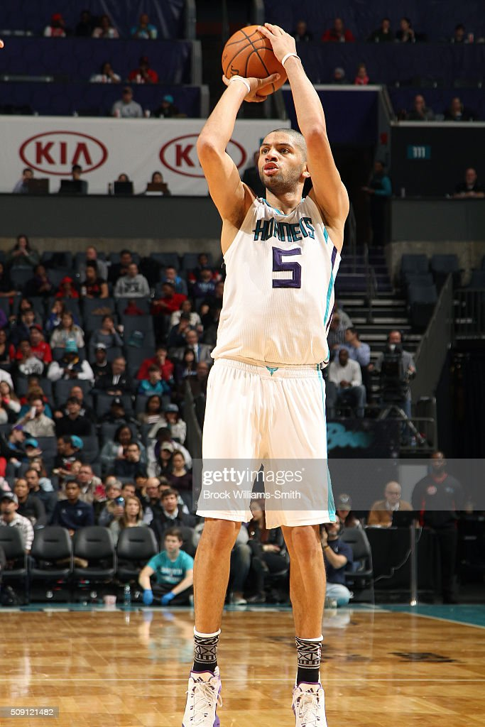 <a gi-track='captionPersonalityLinkClicked' href=/galleries/search?phrase=Nicolas+Batum&family=editorial&specificpeople=3746275 ng-click='$event.stopPropagation()'>Nicolas Batum</a> #5 of the Charlotte Hornets shoots the ball during the game against the Chicago Bulls on February 8, 2016 at Time Warner Cable Arena in Charlotte, North Carolina.