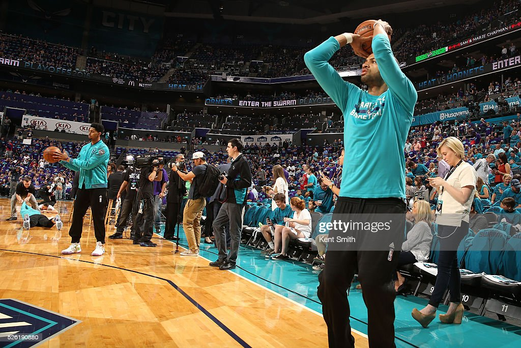 <a gi-track='captionPersonalityLinkClicked' href=/galleries/search?phrase=Nicolas+Batum&family=editorial&specificpeople=3746275 ng-click='$event.stopPropagation()'>Nicolas Batum</a> #5 of the Charlotte Hornets warms up before the game against the Miami Heat in Game Six of the Eastern Conference Quarterfinals during the 2016 NBA Playoffs on April 29, 2016 at Time Warner Cable Arena in Charlotte, North Carolina.