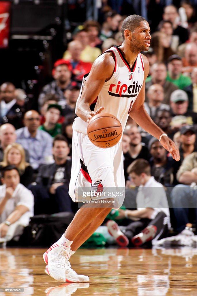 Nicolas Batum #88 of the Portland Trail Blazers controls the ball against the Boston Celtics on February 24, 2013 at the Rose Garden Arena in Portland, Oregon.