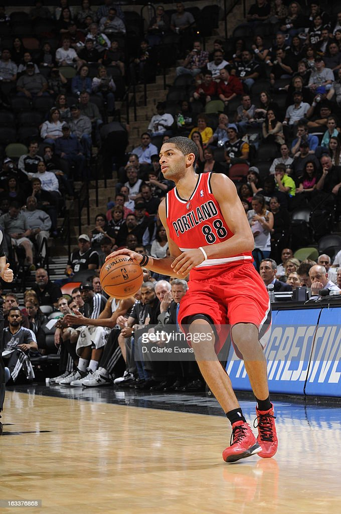 Nicolas Batum #88 of the Portland Trail Blazers dribbles the ball up the floor against the San Antonio Spurs on MARCH 8, 2013 at the AT&T Center in San Antonio, Texas.