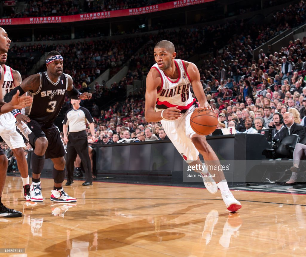 Nicolas Batum #88 of the Portland Trail Blazers drives to the basket against the San Antonio Spurs on November 10, 2012 at the Rose Garden Arena in Portland, Oregon.