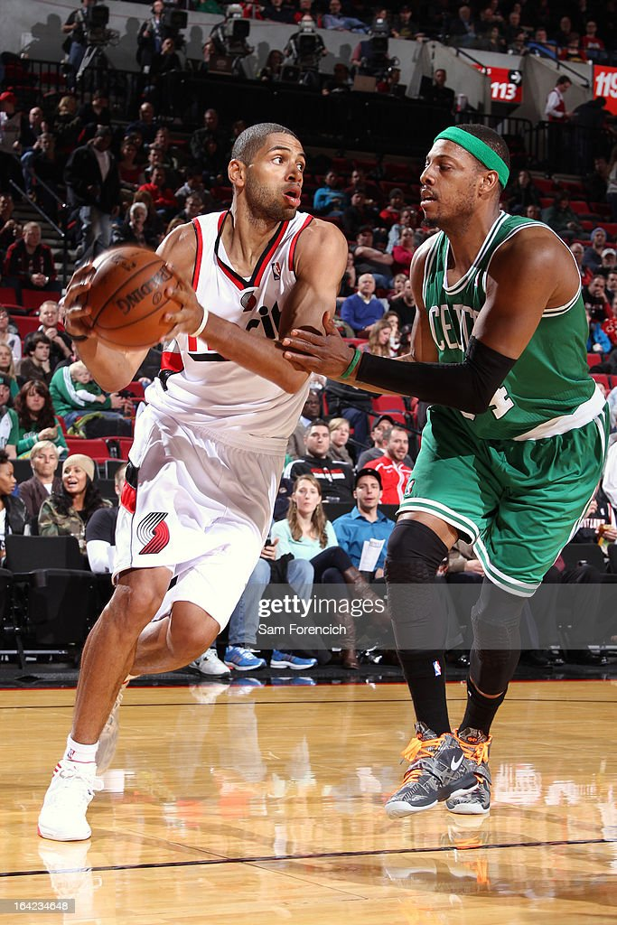Nicolas Batum #88 of the Portland Trail Blazers drives to the basket against the Boston Celtics on February 24, 2013 at the Rose Garden Arena in Portland, Oregon.