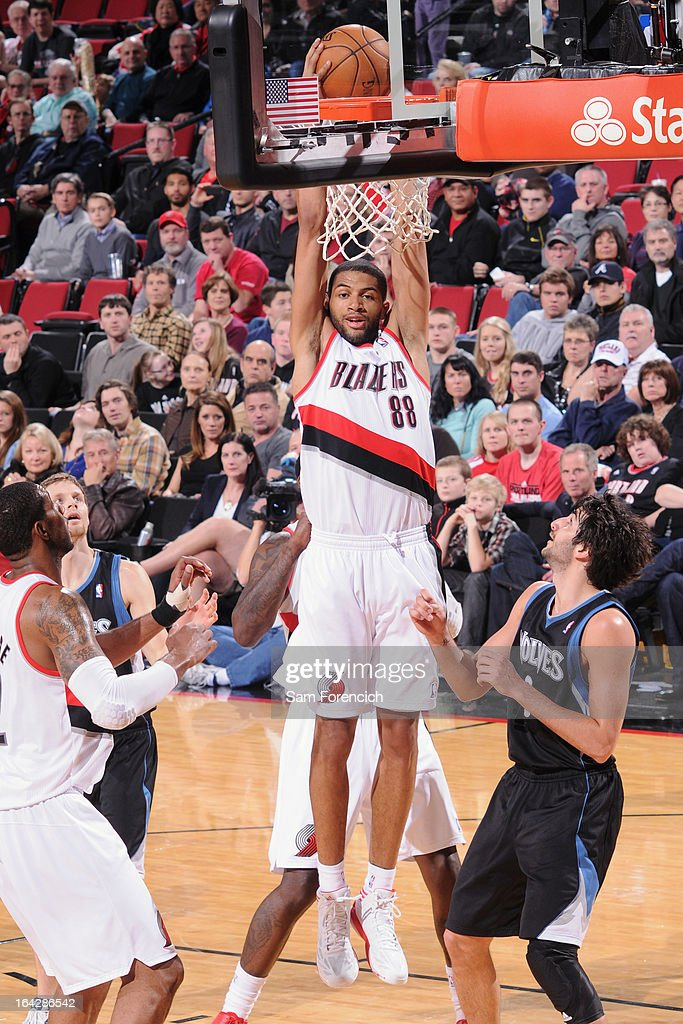 <a gi-track='captionPersonalityLinkClicked' href=/galleries/search?phrase=Nicolas+Batum&family=editorial&specificpeople=3746275 ng-click='$event.stopPropagation()'>Nicolas Batum</a> #88 of the Portland Trail Blazers dunks the ball against the Minnesota Timberwolves on March 2, 2013 at the Rose Garden Arena in Portland, Oregon.