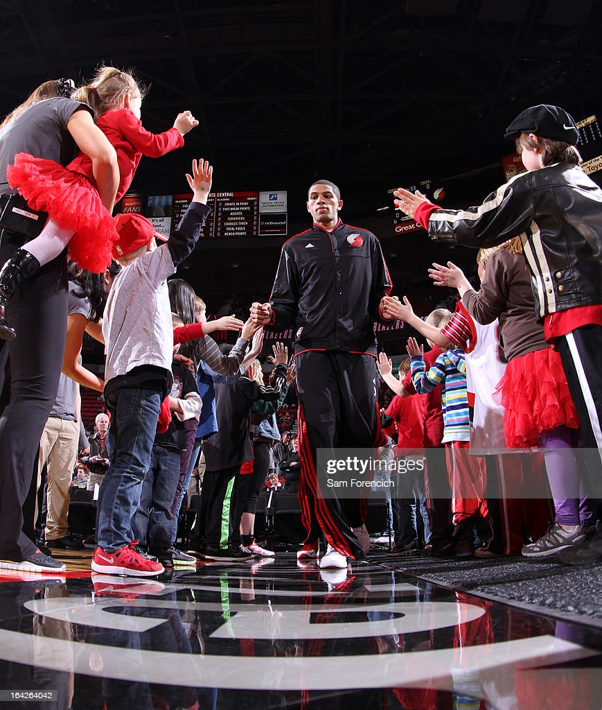 <a gi-track='captionPersonalityLinkClicked' href=/galleries/search?phrase=Nicolas+Batum&family=editorial&specificpeople=3746275 ng-click='$event.stopPropagation()'>Nicolas Batum</a> #88 of the Portland Trail Blazers enters the court before the game against the Charlotte Bobcats on March 4, 2013 at the Rose Garden Arena in Portland, Oregon.