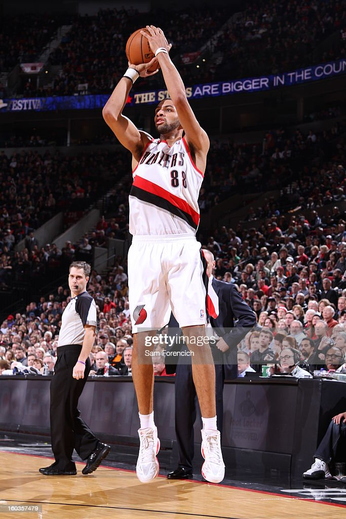 Nicolas Batum #88 of the Portland Trail Blazers goes for a jump shot during the game between the Dallas Mavericks and the Portland Trail Blazers on January 29, 2013 at the Rose Garden Arena in Portland, Oregon.
