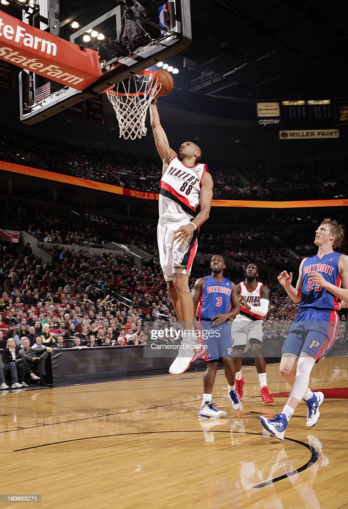 Nicolas Batum #88 of the Portland Trail Blazers goes to the basket during the game between the Detroit Pistons and the Portland Trail Blazers on March 16, 2013 at the Rose Garden Arena in Portland, Oregon.
