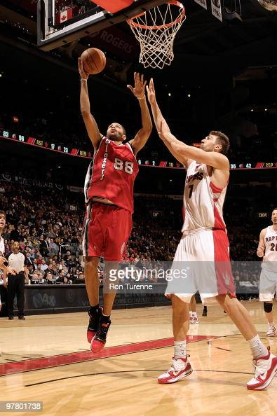 Nicolas Batum of the Portland Trail Blazers goes to the basket against Andrea Bargnani of the Toronto Raptors during the game on February 24 2010 at...