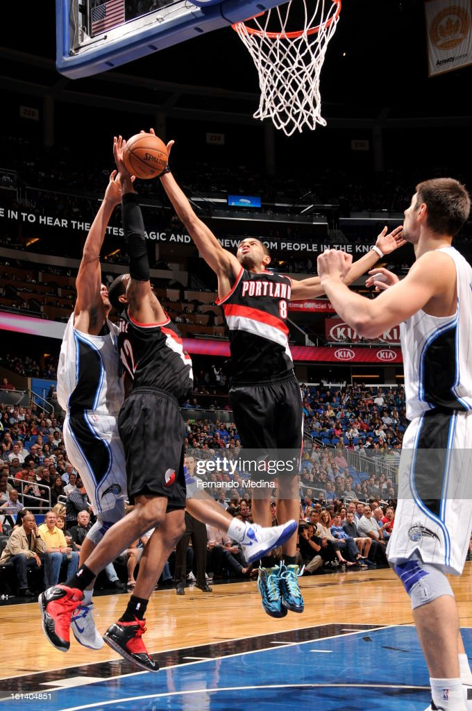 Nicolas Batum #88 of the Portland Trail Blazers goes up for a rebound against the Orlando Magic on February 10, 2013 at Amway Center in Orlando, Florida.