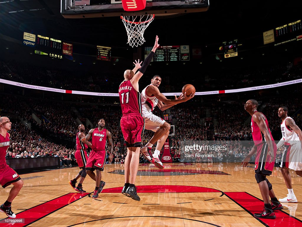 Nicolas Batum #88 of the Portland Trail Blazers goes up for a shot against Zydrunas Ilgauskas #11 of Miami Heat during a game on January 9, 2011 at the Rose Garden Arena in Portland, Oregon.