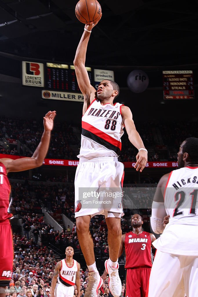 Nicolas Batum #88 of the Portland Trail Blazers goes up for the shot against the Miami Heat on January 10, 2013 at the Rose Garden Arena in Portland, Oregon.