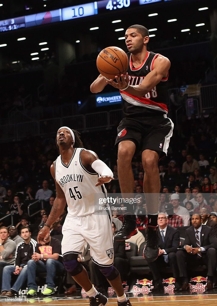 Nicolas Batum #88 of the Portland Trail Blazers grabs the ball against the Brooklyn Nets at the Barclays Center on November 25, 2012 in the Brooklyn borough of New York City.
