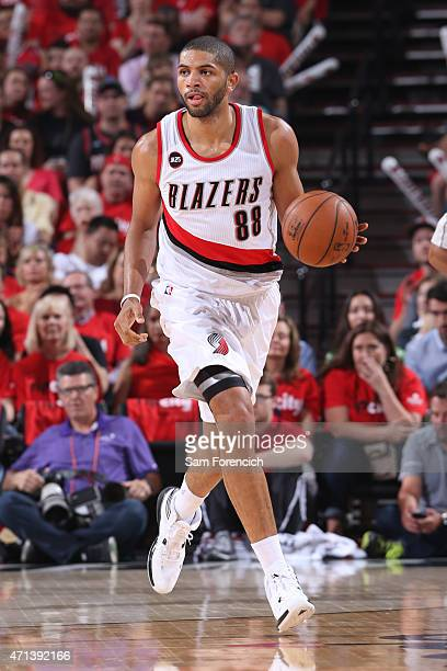 Nicolas Batum of the Portland Trail Blazers handles the ball against the Memphis Grizzlies in Game Four of the Western Conference Quarterfinals...