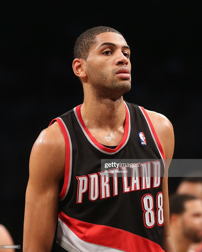 Nicolas Batum #88 of the Portland Trail Blazers plays against the Brooklyn Nets at the Barclays Center on November 25, 2012 in the Brooklyn borough of New York City.