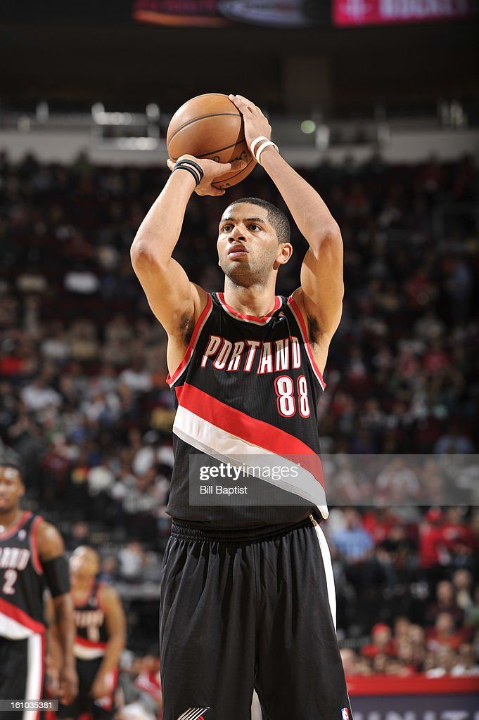 Nicolas Batum #88 of the Portland Trail Blazers shoots a free throw the Houston Rockets on February 8, 2013 at the Toyota Center in Houston, Texas.