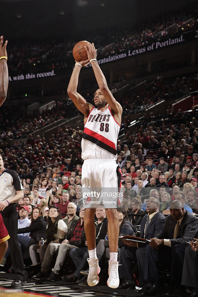 Nicolas Batum #88 of the Portland Trail Blazers shoots the ball against the Cleveland Cavaliers on January 16, 2013 at the Rose Garden Arena in Portland, Oregon.