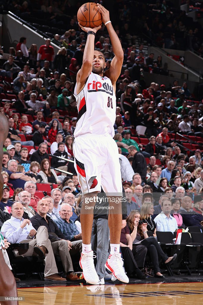 Nicolas Batum #88 of the Portland Trail Blazers takes a shot against the Boston Celtics on February 24, 2013 at the Rose Garden Arena in Portland, Oregon.