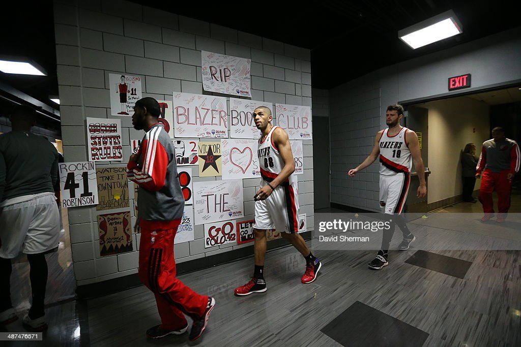 <a gi-track='captionPersonalityLinkClicked' href=/galleries/search?phrase=Nicolas+Batum&family=editorial&specificpeople=3746275 ng-click='$event.stopPropagation()'>Nicolas Batum</a> #88 of the Portland Trail Blazers walks out before Game Four of the Western Conference Quarterfinals against the Houston Rockets during the 2014 NBA Playoffs on April 27, 2014 at the Moda Center in Portland, Oregon.