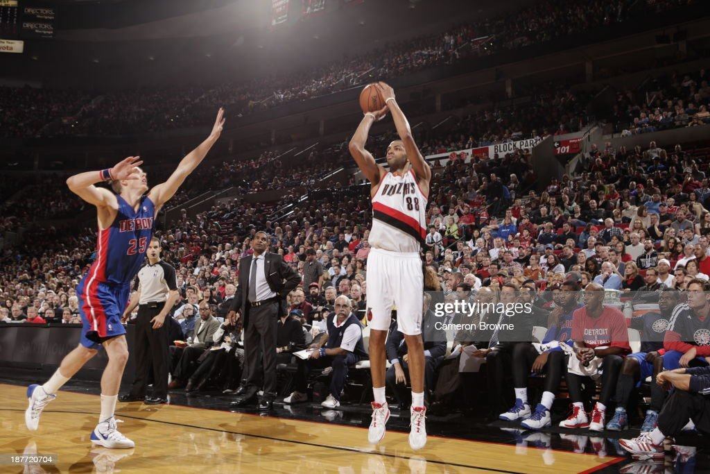 Nicolas Batum #88 of the Portland Trailblazers shoots the ball against the Detroit Pistons on November 11, 2013 at the Moda Center Arena in Portland, Oregon.