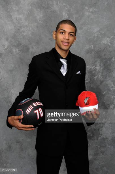 Nicolas Batum selected twenty five overall by the Houston Rockets and later traded to the Portland Trail Blazers poses for a portrait backstage...