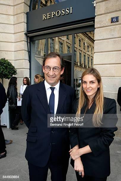 Nicolas Bazire and Creative director of the Italian jewellery brand Repossi Gaia Repossi attend the Repossi Vendome Flagship Store Inauguration at...