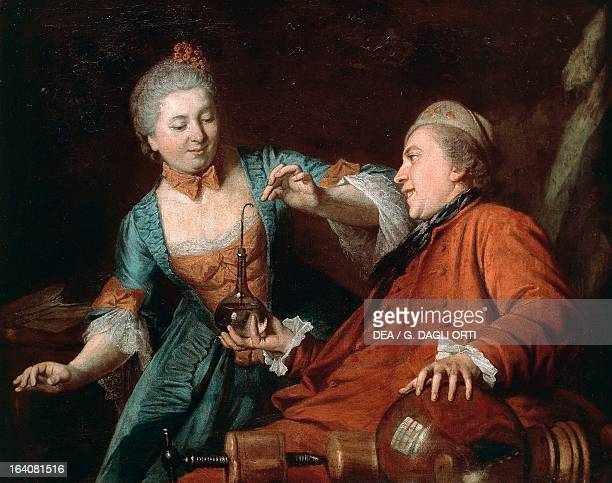 Nicolas Bergeat and Madame de Maisoncel conducting a physics experiment 1770 Painting by an 18th century French anonymous artist oil on canvas cm...