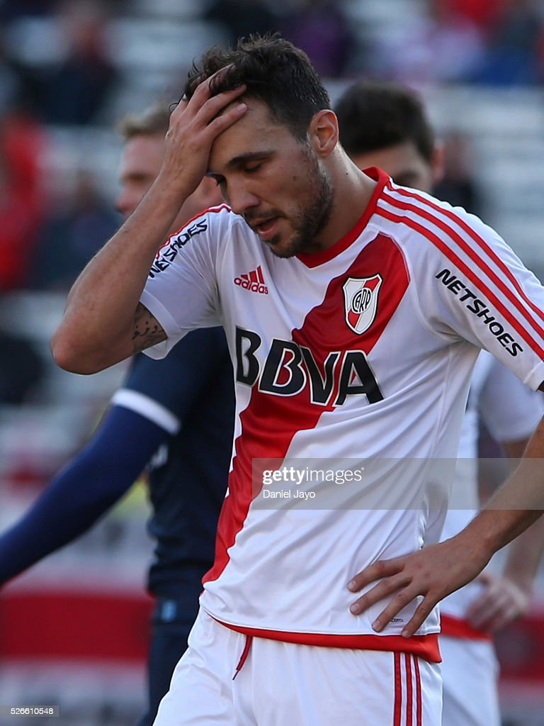 <a gi-track='captionPersonalityLinkClicked' href=/galleries/search?phrase=Nicolas+Bertolo&family=editorial&specificpeople=3937136 ng-click='$event.stopPropagation()'>Nicolas Bertolo</a>, of River Plate, reacts after missing a chance to score during a match between River Plate and Velez Sarsfield as part of Torneo Transicion 2016 at Antonio Vespucio Liberti Stadium on April 30, 2016 in Buenos Aires, Argentina.
