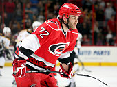 Nicolas Blanchard of the Carolina Hurricanes participates in warmups prior to an NHL game against the Boston Bruins at PNC Arena on April 13 2013 in...