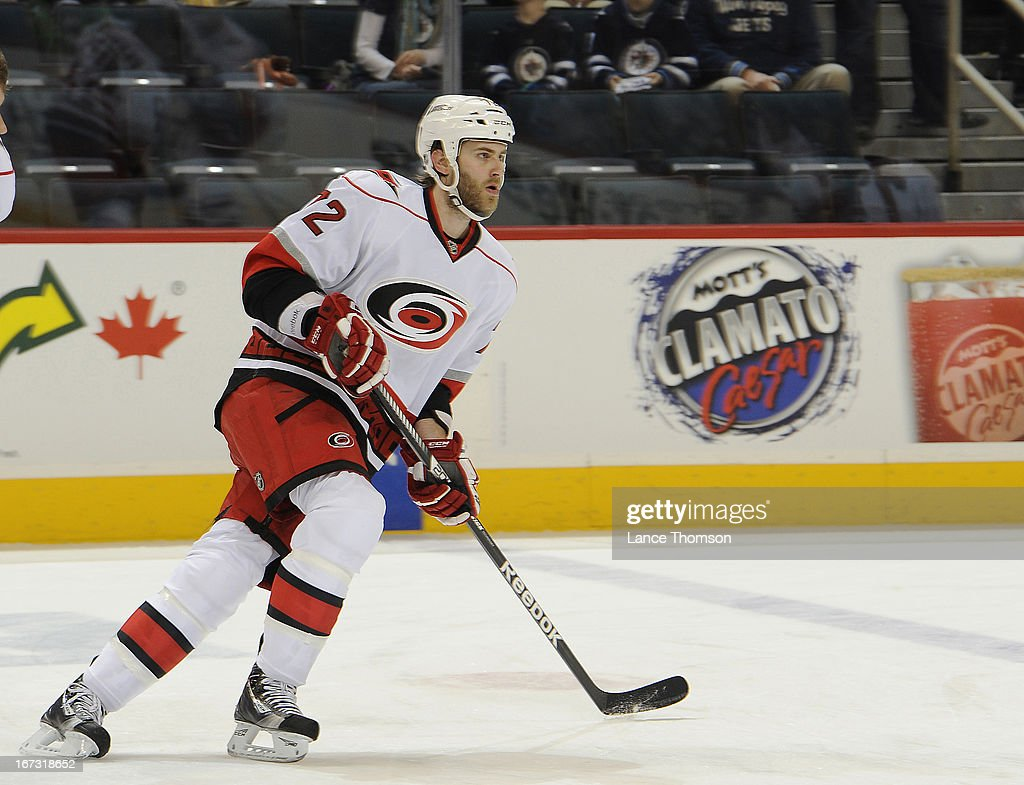 Nicolas Blanchard #72 of the Carolina Hurricanes takes part in the pre-game warm up prior to an NHL game against the Winnipeg Jets at the MTS Centre on April 18, 2013 in Winnipeg, Manitoba, Canada.