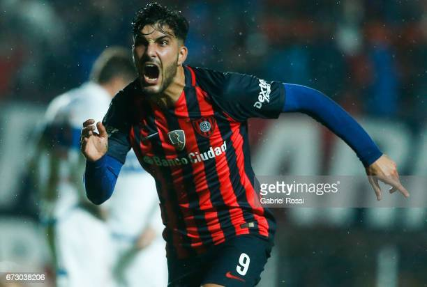 Nicolas Blandi of San Lorenzo celebrates after scoring the first goal of his team during a match between San Lorenzo and Universidad Catolica as part...