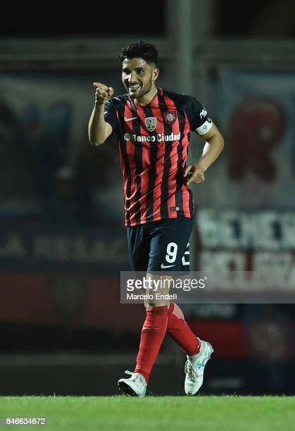 Nicolas Blandi of San Lorenzo celebrates after scoring the opening goal of his team during a first leg match between San Lorenzo and Lanus as part of...