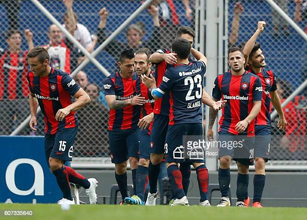 Nicolas Blandi of San Lorenzo celebrates with his teammates after scoring the second goal of his team during a match between San Lorenzo and Velez...