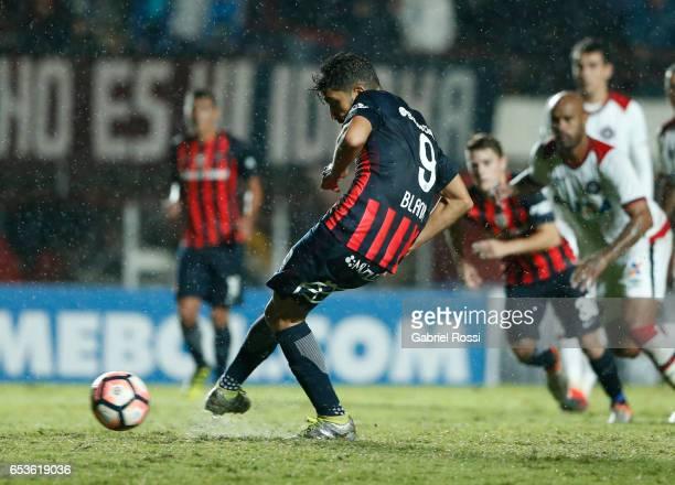 Nicolas Blandi of San Lorenzo kicks a penalty during a group stage match between San Lorenzo and Atletico Paranaense as part of Copa CONMEBOL...