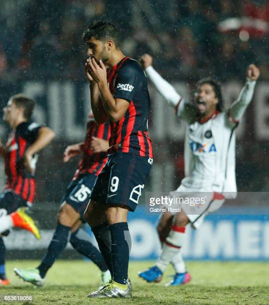 Nicolas Blandi of San Lorenzo laments after missing a penalty during a group stage match between San Lorenzo and Atletico Paranaense as part of Copa...