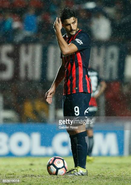 Nicolas Blandi of San Lorenzo looks on during a group stage match between San Lorenzo and Atletico Paranaense as part of Copa CONMEBOL Libertadores...