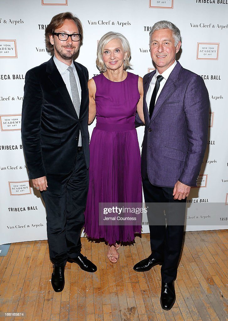 Nicolas Bos, Eileen Guggenheim and artist David Kratz attend the 2013 Tribeca Ball at New York Academy of Art on April 8, 2013 in New York City.