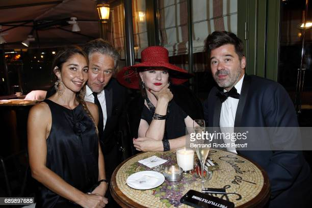 Nicolas Briancon and his wife Karine Catherine Jacob and guest attend the Dinner of 'La Nuit des Molieres 2017' at la Closerie des Lilas on May 29...