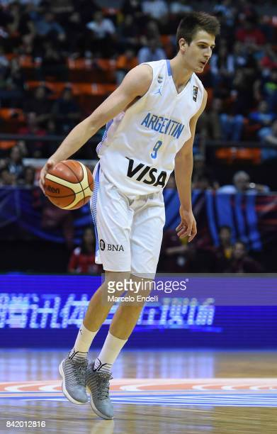 Nicolas Brussino of Argentina drives the ball during a semi final match between Argentina and Mexico as part of FIBA AmeriCup 2017 at Orfeo Superdomo...