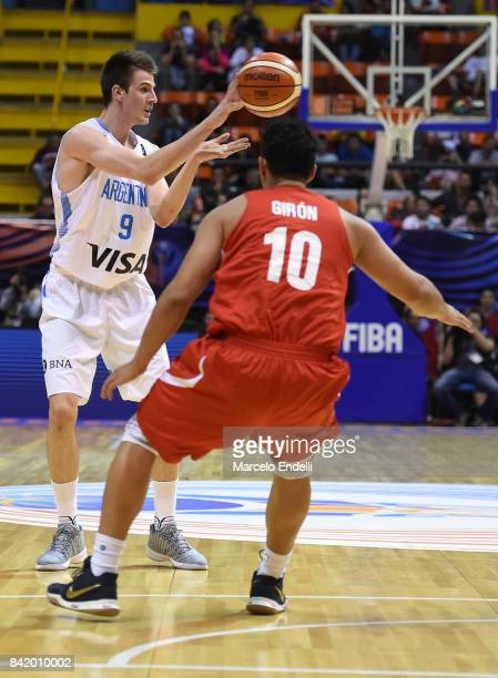 Nicolas Brussino of Argentina passes the ball during a semi final match between Argentina and Mexico as part of FIBA AmeriCup 2017 at Orfeo Superdomo...